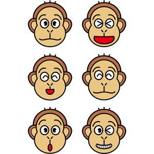 フリーイラスト, ベクター画像, EPS, 動物, 哺乳類, 猿(サル), 動物の顔, 笑う(動物), 喜ぶ(動物), 驚く(動物)