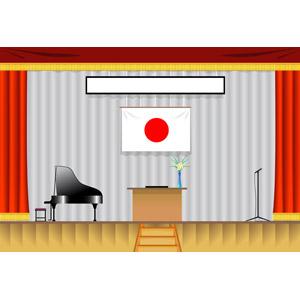フリーイラスト, ベクター画像, EPS, 風景, 建造物, 建築物, 体育館, 学校, 日本の国旗(日の丸), ピアノ, マイク, 舞台幕, 入学式, 卒業式