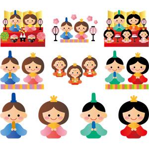 フリーイラスト, ベクター画像, AI, 年中行事, 雛祭り(ひなまつり), 3月, 上巳(桃の節句), ひな人形, 人形