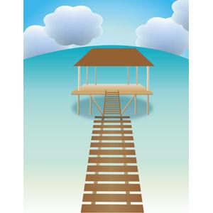 フリーイラスト, ベクター画像, AI, 風景, 建造物, 建築物, 水上コテージ, 桟橋, リゾート, バケーション, 南国, 海, 雲