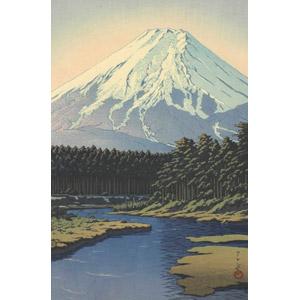 フリー絵画, 川瀬巴水, 風景, 自然, 山, 富士山, 日本の風景, 山梨県, 世界遺産, 河川