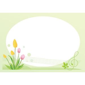 フリーイラスト, ベクター画像, AI, 背景, フレーム, 円形フレーム, 花, チューリップ, 音楽, ト音記号, 植物