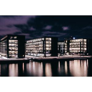 フリー写真, 風景, 建造物, 建築物, 夜, 夜景, デンマークの風景, コペンハーゲン
