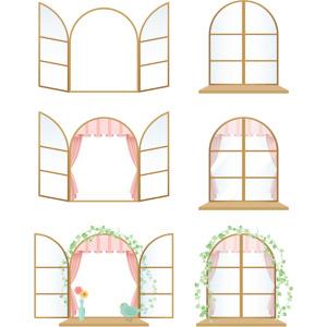 フリーイラスト, ベクター画像, AI, 窓, 建具, 蔦(ツタ), 青い鳥, 花瓶