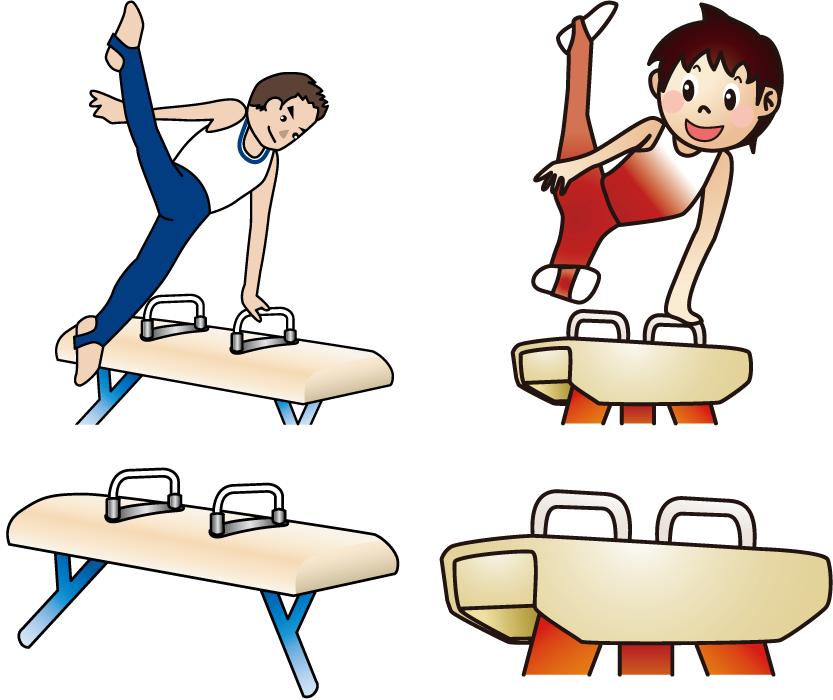 フリーイラスト 4種類のあん馬と体操選手