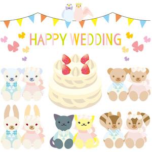フリーイラスト, ベクター画像, EPS, 結婚式(ブライダル), ぬいぐるみ, テディベア, 熊(クマ), ホッキョクグマ(シロクマ), 兎(ウサギ), 猫(ネコ), 栗鼠(リス), カップル(動物), 小鳥, ウェディングケーキ