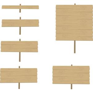 フリーイラスト, ベクター画像, AI, 看板, 立て看板, 立て札, 木材