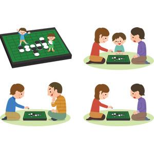 フリーイラスト, ベクター画像, AI, ゲーム, オセロ(リバーシ), 人物, 男性, 女性, 子供, 女の子, 男の子