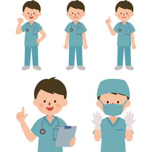 フリーイラスト, ベクター画像, AI, 人物, 男性, 職業, 仕事, 医者(医師), 医療, バインダー(クリップボード), 手術, ワンポイントアドバイス, 応援する, ガッツポーズ, 聴診器