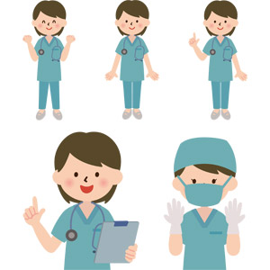 フリーイラスト, ベクター画像, AI, 人物, 女性, 職業, 仕事, 医者(医師), 医療, 女医, バインダー(クリップボード), 手術, ワンポイントアドバイス, 応援する, 聴診器, ガッツポーズ