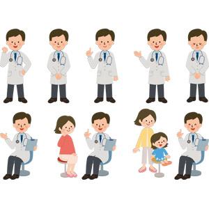 フリーイラスト, ベクター画像, AI, 人物, 男性, 職業, 仕事, 医者(医師), 医療, 応援する, ガッツポーズ, ワンポイントアドバイス, 案内する, 聴診器, お辞儀, 患者, バインダー(クリップボード)