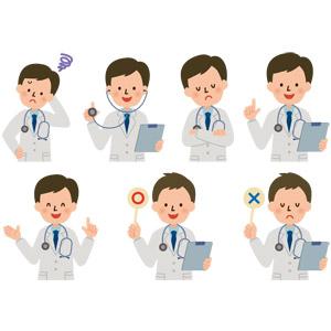 フリーイラスト, ベクター画像, AI, 人物, 男性, 職業, 仕事, 医者(医師), 医療, 困る, 聴診器, 考える, 腕を組む, 悩む, ワンポイントアドバイス, マルバツ札, マル印, バツ印, 正解, 間違い