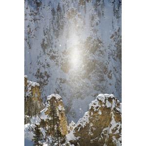 フリー写真, 風景, 自然, 雪, 冬, 太陽柱, アメリカの風景, イエローストーン国立公園
