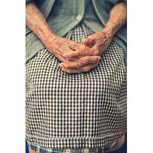 フリー写真, 人体, 手, 老人, シニア女性, 祖母(おばあさん), チェック柄, ギンガムチェック