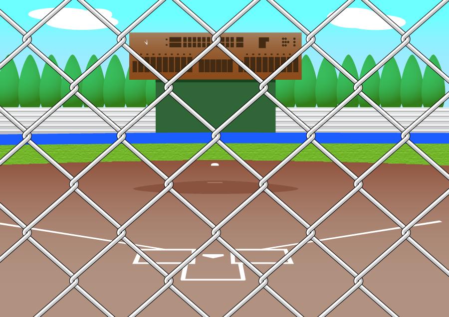 フリーイラスト バックネットから見る野球場