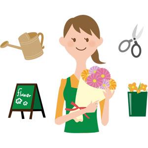 フリーイラスト, ベクター画像, AI, 人物, 女性, 職業, 仕事, 店員, 花屋(フラワーショップ), 花束, じょうろ, 花ばさみ, 花, 立て看板