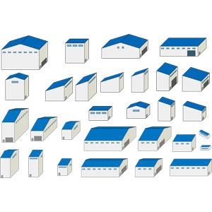 フリーイラスト, ベクター画像, AI, 建造物, 建築物, 工場, 倉庫