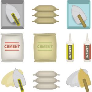 フリーイラスト, ベクター画像, AI, 建築材料, セメント, 鏝(こて), 工事