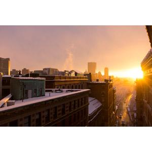 フリー写真, 風景, 建造物, 建築物, 高層ビル, 都市, 雪, 朝日, アメリカの風景, マサチューセッツ州, ボストン