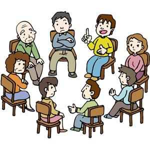 フリーイラスト, ベクター画像, AI, 人物, 集団(グループ), 男性, 女性, 中年女性, シニア男性, 会議(ミーティング), 集会, 座る(椅子)