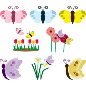 フリーイラスト, ベクター画像, AI, 動物, 昆虫, 蝶(チョウ), 花, チューリップ, ガーベラ, 百合(ユリ)