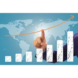 フリー写真, 人体, 手, 指差す, 人差し指, 地図, 世界地図, 棒グラフ, データ, 売り上げ(売上), ビジネス, グローバルビジネス, ビジネスマン, 仕事, 右肩上がり