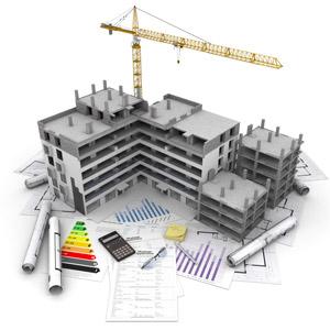 フリーイラスト, 建造物, 建築物, 高層ビル, 住宅, マンション(団地), 工事, クレーン, 設計図, 電卓, 書類