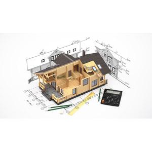フリーイラスト, 建造物, 建築物, 住宅, 家(一軒家), 設計図, 電卓, 電卓, 鉛筆(えんぴつ), 定規(物差し), マイホーム