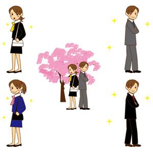 フリーイラスト, ベクター画像, AI, 人物, 男性, 女性, 職業, 仕事, ビジネス, ビジネスマン, ビジネスウーマン, サラリーマン, 新入社員, メンズスーツ, レディーススーツ, 桜(サクラ), 春, 人と花