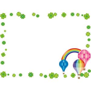 フリーイラスト, ベクター画像, AI, 背景, フレーム, 囲みフレーム, 植物, クローバー(シロツメクサ), 四つ葉のクローバー, 熱気球, 虹