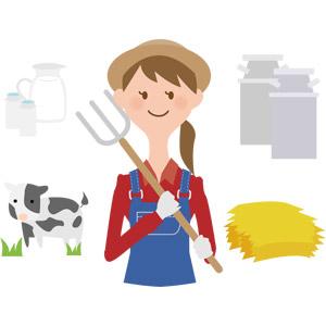 フリーイラスト, ベクター画像, AI, 人物, 女性, 仕事, 職業, 酪農, 農家(農民), ピッチフォーク, 牛乳(ミルク), ミルクタンク, 干し草, 牛(ウシ), ホルスタイン, 飲み物(飲料)