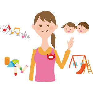 フリーイラスト, ベクター画像, AI, 人物, 女性, 仕事, 職業, 保育士, 保育園, 幼稚園, 幼稚園児, 音符, 子供, クレヨン, 積木(積み木), 遊具, ブランコ, すべり台