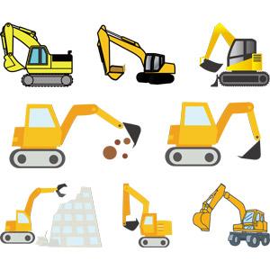 フリーイラスト, ベクター画像, AI, 建設機械(重機), ショベルカー(ユンボ), 土木, 工事, 解体工事