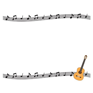 フリーイラスト, ベクター画像, AI, 背景, フレーム, 上下フレーム, 音楽, 楽譜, 音符, 楽器, 弦楽器, ギター, アコースティックギター