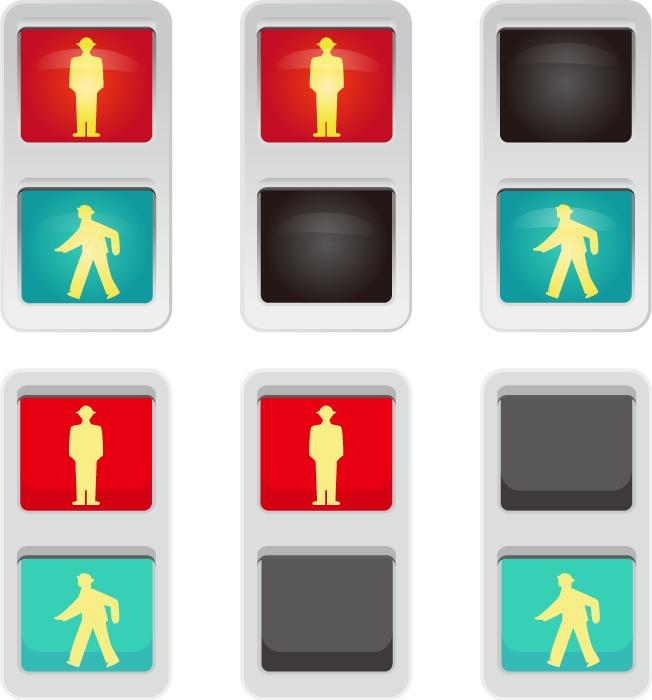 フリーイラスト 6種類の歩行者用信号のセット
