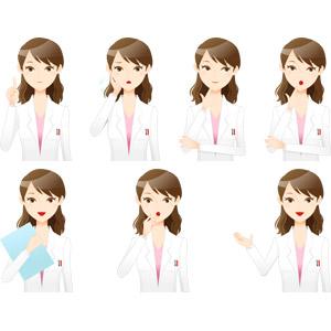 フリーイラスト, ベクター画像, AI, 人物, 女性, 職業, 仕事, 医者(医師), 医療, 女医, アドバイス, 説明する, 困る, 頬に手を当てる, 顎に指を当てる, 考える, 悩む, 驚く, 案内する