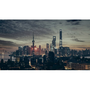 フリー写真, 風景, 建造物, 建築物, 高層ビル, 都市, 街並み(町並み), 日暮れ, 塔(タワー), 上海中心, 東方明珠電視塔, 中国の風景, 上海市, 上海環球金融中心