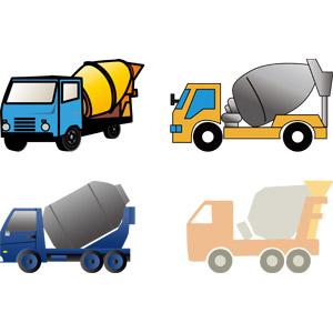 フリーイラスト, ベクター画像, AI, 乗り物, 自動車, 働く車, ミキサー車, 貨物自動車, 建設機械(重機), 工事, 土木