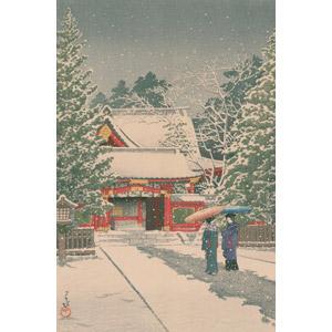 フリー絵画, 川瀬巴水, 浮世絵, 風景画, 建造物, 建築物, 神社, 雪, 冬, 女性, 和傘, 日本の風景, 東京都