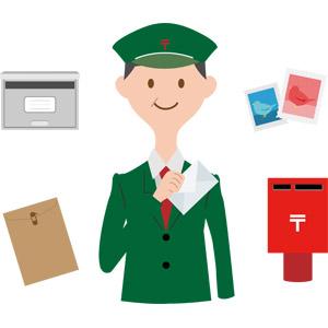 フリーイラスト, ベクター画像, AI, 人物, 男性, 職業, 仕事, 郵便局員, 郵便, 郵便ポスト, 郵便受け, 切手, 封筒, 手紙