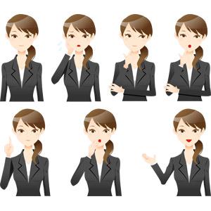 フリーイラスト, ベクター画像, AI, 人物, 女性, 仕事, 職業, ビジネス, ビジネスウーマン, アドバイス, 説明する, 困る, 頬に手を当てる, 顎に指を当てる, 考える, 悩む, 驚く, 案内する, レディーススーツ