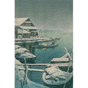 フリー絵画, 川瀬巴水, 浮世絵, 風景画, 乗り物, 船, 手漕ぎボート, 雪, 冬, 日本の風景, 東京都, 河川, 船着き場