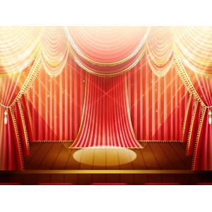 フリーイラスト, 背景, 舞台幕, 舞台(ステージ), スポットライト
