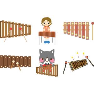 フリーイラスト, ベクター画像, AI, 音楽, 楽器, 旋律打楽器, 木琴, 演奏する, 女の子, 猫(ネコ)