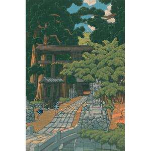フリー絵画, 川瀬巴水, 浮世絵, 風景画, 建造物, 建築物, 神社, 鳥居, 日本の風景, 森林, 埼玉県
