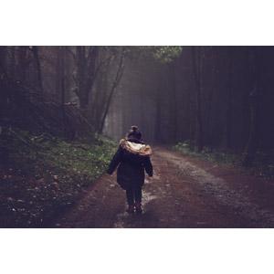 フリー写真, 人物, 子供, 女の子, 外国の女の子, 後ろ姿, 小道, 森林, 人と風景