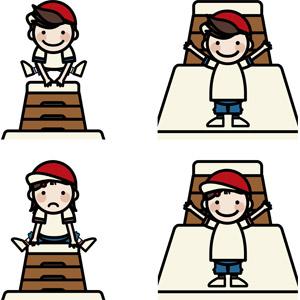 フリーイラスト, ベクター画像, AI, 人物, 子供, 男の子, 女の子, 学校, 体育, 小学生, 小学校, 跳び箱, 学生(生徒), 体操服(体操着), 紅白帽(赤白帽), 跳ぶ(ジャンプ)