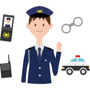 フリーイラスト, ベクター画像, AI, 人物, 男性, 警察, 警察官(お巡りさん), 仕事, 職業, 警察手帳, トランシーバー, 手錠, パトカー