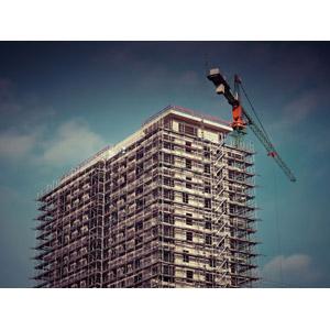 フリー写真, 風景, 建造物, 建築物, 高層ビル, 工事, 住宅, マンション(団地), クレーン