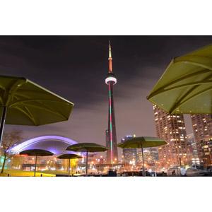 フリー写真, 風景, 建造物, 建築物, 塔(タワー), CNタワー, 夜, 夜景, カナダの風景, トロント